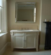 Curve fronted vanity unit.
