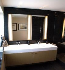 Vanity unit with flush lighting and mirrors.