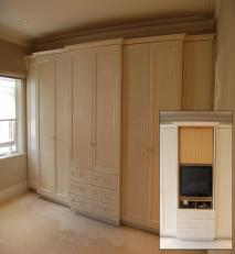 Wardrobe with an hand applied pearlescent finish. Inset shows hidden flat screen TV unit in central unit.