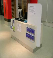 Customer information point in acrylic and resin solid surfacing.