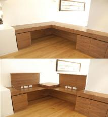 Concealed desking in walnut.