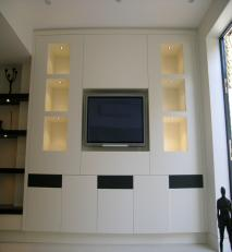 Display and AV unit in a lacquered finish.