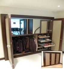 Hallway storage in walnut and faux leather. Inset shows unit when closed.