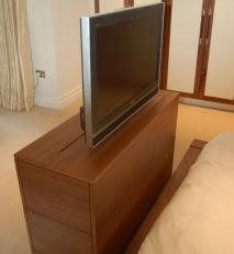 Motorised TV cabinet (shown fully open).